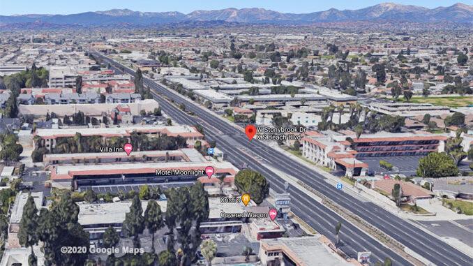 Beach Boulevard and West Stonybrook Drive, Anaheim Aerial View (©2020 Google Maps)