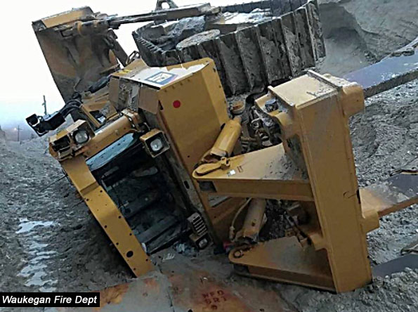 Bulldozer Crash at National Gypsum, Waukegan Fire Department