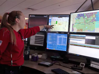 Dispatcher Sara Shover shows the console at South Metro Fire Rescue's 911 Communications Center