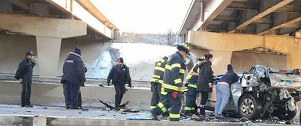 Crash off of Route I-290 Bridge onto Route 83 Addison