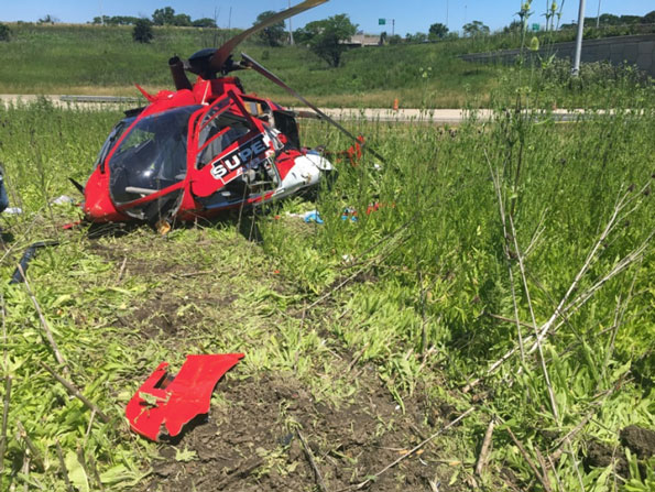 Chicago Medical Helicopter Crash: Superior Helicopter Crash Front